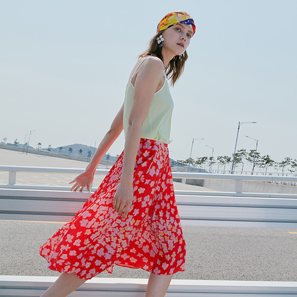 PLEATS FLOWER SKIRT_ORANGE NE8SS0780