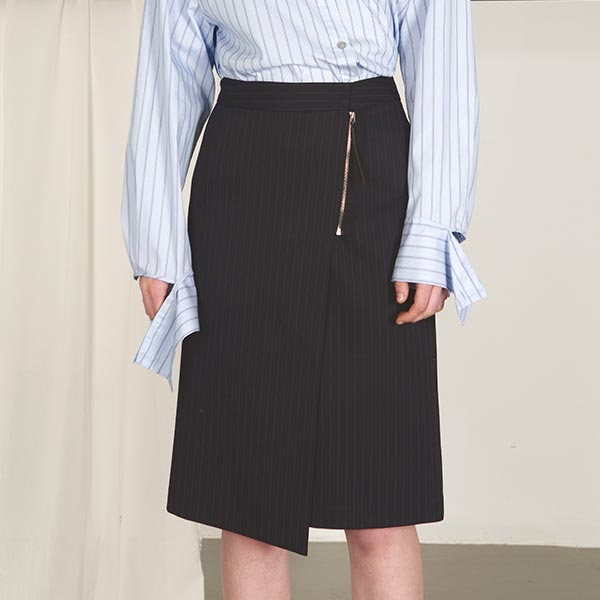 UNBAL ZIPPER POINT STRIPE SKIRT NE8SS0810