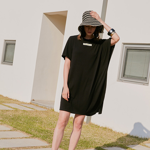 JERSEY TUNIC DRESS_BLACK NE8MO3180