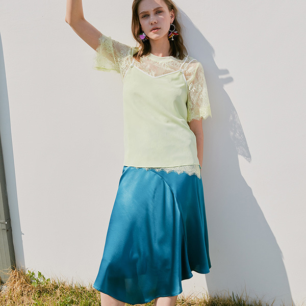 SATIN UNBAL SKIRT_TEAL/GREEN NE8MS3130