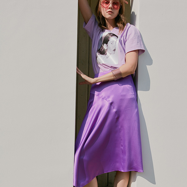 SATIN UNBAL SKIRT_L/PURPLE NE8MS3130