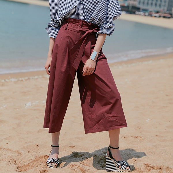 COTTON WIDE PANTS_WINE NE8ML3150