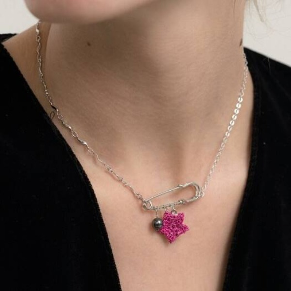 자체브랜드#[MERRYMOTIVE] Metalic pink star with mix chain necklace_MX9XX0200