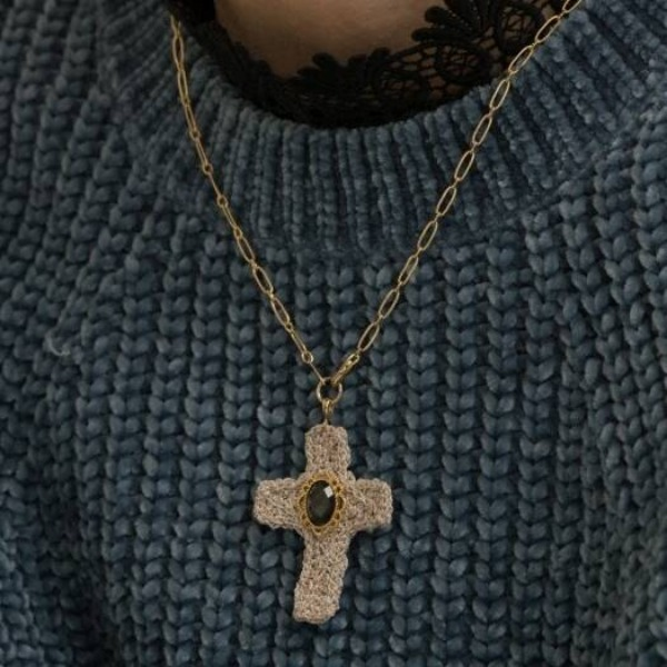 자체브랜드#[MERRYMOTIVE] Baroque metalic knit cross necklace_MX9XX0180