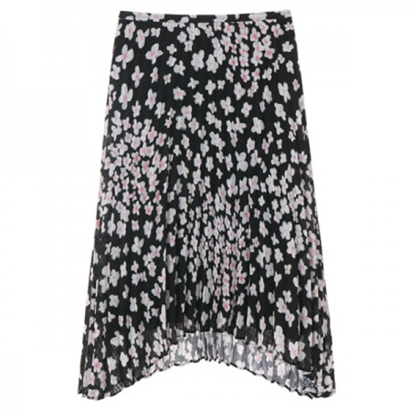 PLEATS FLOWER SKIRT_BLACK NE8SS0780