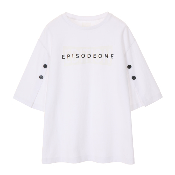 온앤온에디션SLEEVE BUTTON T-SHIRT_IVORY NE8SE0890