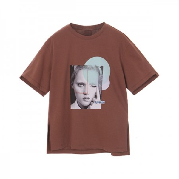 DISITAL PRINT T-SHIRT_BROWN NE8ME3190