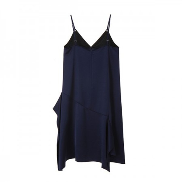 SATIN SUSPENDER DRESS_NAVY NE8MO3090